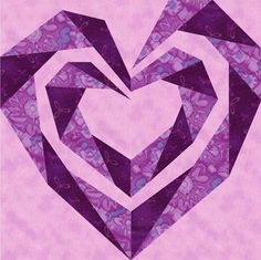 Twisting Spiral Heart Paper Pieced Block