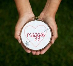 A hand embroidered heart sampler with baby's name is a sweet and traditional Mother's day gift. Baby's birth date, middle and last name can be added too.