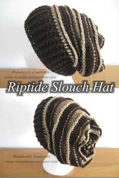Your place to learn to crochet the Riptide Slouch Hat for FREE. By Meladora's…