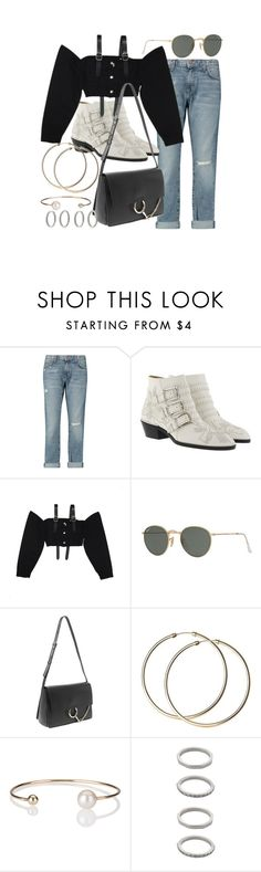 """""""Untitled #21074"""" by florencia95 ❤ liked on Polyvore featuring Current/Elliott, Chloé, M.Y.O.B., Ray-Ban, Letters By Zoe and Forever 21"""