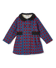 Blue & Red Plaid Wool Pea Coat - Toddler & Girls