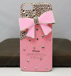 pink bow case pink phone case for iphone 4 iphone 5 by dnnayding, $19.99