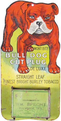 Rare Bull Dog Cut Plug Tobacco Tin Match Holder : Lot 1214