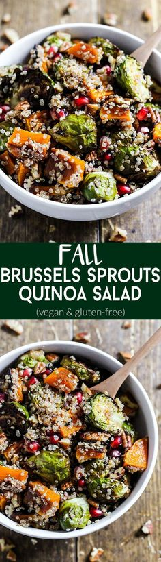 Could You Eat Pizza With Sort Two Diabetic Issues? Enjoy The Comforting Flavors Of The Season In This Fall Brussels Sprouts Quinoa Salad It's Sweet And Salty In A Healthy Side Dish. Vegetarian and Gluten-Free Fall Recipes, Whole Food Recipes, Cooking Recipes, Cooking Tips, Kitchen Recipes, Xmas Recipes, Recipes Dinner, Breakfast Recipes, Healthy Sides