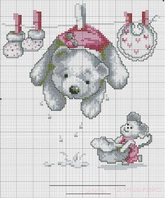 BABY GIRL (no color chart available, just use photo/pattern chart as your stitch/color guide... or choose your own colors)