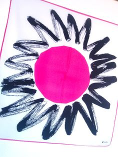 Giant Pink Sun - a vintage 1960's Vera Neumann Lucky Ladybug hand-painted scarf