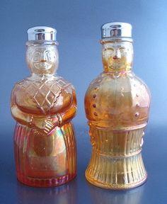 Imperial Glass SALZ & PFEFFER Rubigold Figural Salt & Pepper Shakers