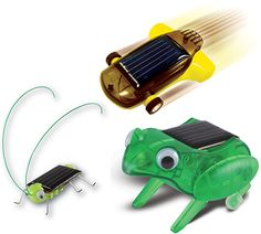 These three mini solar kits are easy to assemble and demonstrate alternative energy principles. Running on sunlight they require no batteries. Super Solar Racing CarThe solar powered car has surprising speed. It can be stopped quickly by shielding its power source. Eleven parts simply snap together. 5.5 x 4 x 1.5 cm (2.125 x 1.625 x 0.5 in.) Frightened Grasshopper In sunlight eyes jiggle, legs wiggle, and antennas sway to-and-fro as the frightened grasshopper dances. Seven parts simply snap…