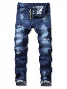 c0697e19a277 Ripped Paint Splatter Denim Pants - BLUE - 32 Pánská Móda
