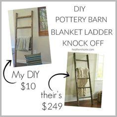 DIY Blanket Ladder {Pottery Barn Knock Off} Knock off Decor Knock Off Pottery Barn Furniture Projects, Home Projects, Home Crafts, Diy Furniture, Diy Home Decor, Diy Crafts, Weekend Projects, Wicker Furniture, Creative Crafts