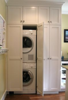 Concealed Stacked Washer and Dryer, Transitional, Laundry Room, Benjamin  Moore Chelsea Gray | For the Home | Pinterest | Chelsea gray, Benjamin  moore and ...