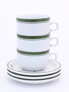 Vintage ceramic set 3 plates and cups 80s Plates and cups GS