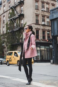 Fall in Pink :: Blush peacoat & Skinny scarf :: Outfit :: Top :: Thread & Supply peacoat Peacoat Outfit, Pink Peacoat, Bomber Jacket Outfit, Fall Winter Outfits, Winter Fashion, Coats For Women, Jackets For Women, Trendy Outfits, Cute Outfits