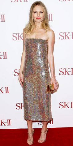 Bosworth sparkled in a sequin Stella McCartney design, JewelMint earrings, a leather Proenza Schouler clutch and crystal Giuseppe Zanotti sandals on the SK-II red carpet.