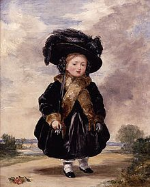 Victoria, aged four.  Painting by Stephen Poyntz Denning, 1823.  Note the black coat and hat, and the fur trimmings on the coat.