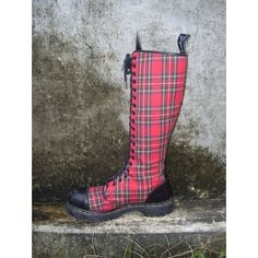Tartan Plaid Punk Boots Vintage Knee High Lace Up GripFast made in... ❤ liked on Polyvore featuring shoes, boots, steel toe boots, safety toe shoes, safety toe boots, vintage boots and vintage shoes