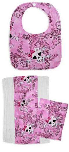 Punk Rock Baby Bib & Burp Gift Set: Glitter Princess Skulls
