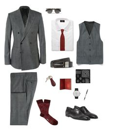 Monday Outfit: Double Breasted jacket are still Trendy in spring 2015. It looks modern and glamour, especially, of the variety of style, six button with slim fit is more classy. I mixed double breasted suit and red tie because it is interesting that the harmony of gray which is dark tone and red. Moreover, I put red tone colour as accessories, such as key-chain, wallet, and sock. also, office workers have a meeting on monday that is why I used fomal outfit and put a pen on collage.