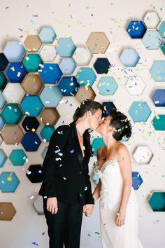 Hexagon tile backdrop
