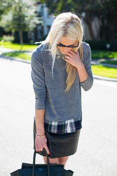 necklace, leather skirt, layering with grey sweater and plaid button down!