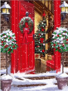 A red door easily becomes a Christmas door! Christmas Scenes, Noel Christmas, Vintage Christmas Cards, Christmas Pictures, Christmas Crafts, Christmas Decorations, Holiday Decor, Outdoor Christmas, Country Christmas