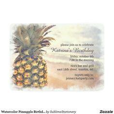 Watercolor Pineapple Birthday Party Invitation