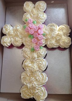 Follow Chef Delainey for more fun and yummy ideas - watch her videos on youtube - Brooklyn's Baptism cupcake cake