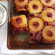 Cranberry Pineapple Upside-Down Cake Recipe is shared by Sherry Conley, Noel Hants County, Nova Scotia Cranberry Upside Down Cake, Pineapple Upside Down Cake, Pineapple Cake, Pineapple Slices, Crushed Pineapple, Sweet Recipes, Cake Recipes, Dessert Recipes, Cranberry Recipes