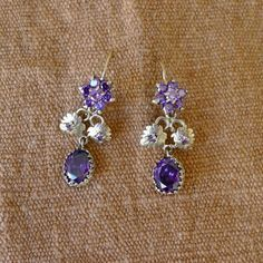 Mexican Silver arracadas filagree large Frida by LivingTextiles Amethyst Earrings, Dangle Earrings, Mexican Jewelry, Gold Wash, Belly Button Rings, 925 Silver, Dangles, Romantic, Vintage