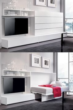 IQ System B by Erba Italia is a modern murphy bed that opens with just a simple touch. The bed smoothly rotates into the horizontal position and opening does not require any assistance and it can be quickly and easily blocked if there are any obstacles present.
