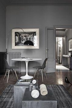 grey dream. Sillas Eames y mesa Tulip - living room