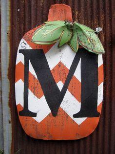 Monogrammed + chevron pumpkin door decor