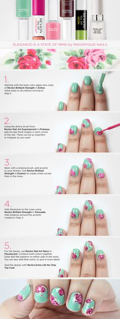 'Elegance is a State of Mind' Manicure ......................... by Magnifique Nails Nail Art Tutorial for Revlon