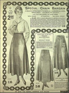 1917-18 T.Eaton Co.  -skirts w/ curved line trims