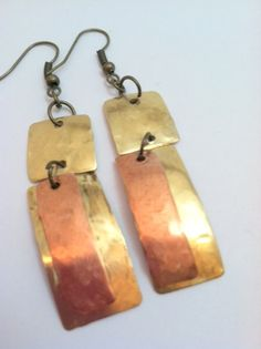 Brass and Copper Earrings  EML029 by KnotObsolete on Etsy, $12.00