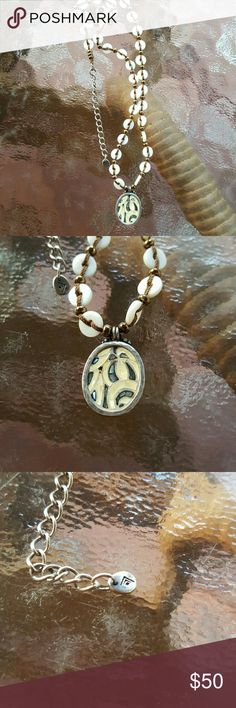 """Silpada Retired Shell Inlay Mosaic Necklace Marble & Shell inlay featured on Brown Cord 16"""" long...with 2"""" extender & lobster clasp. Silpada  Jewelry Necklaces"""