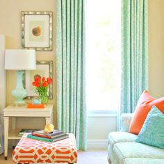 Turquoise and coral, although this is a living room, I love the color idea for a bedroom!