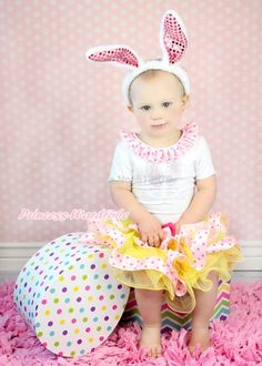 27.99$  Buy here - http://aiv76.worlditems.win/all/product.php?id=32290415162 - Easter Rhinestone Bunny White S/S Top Yellow Dots Satin Trim Pettiskirt Set 1-8Y MAPSA0425