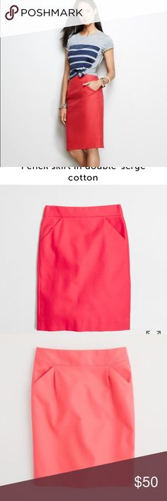 NWOT J. Crew Coral Pencil Skirt in size 4 BRAND NEW! Such a vibrant Coral skirt! So elegant! J. Crew Skirts Pencil