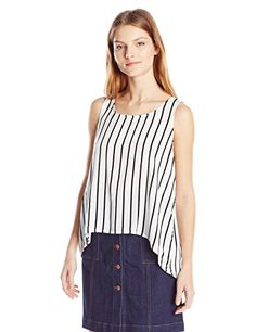Jack by BB Dakota Womens Eddy Stripe Priinted Rayon Challi Crossback Tank Black Large *** See this great product.