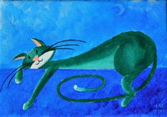 "Original Cat Painting for Sale : Fantasy Cats  ""Midnight Cat"""