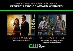 Congratulations to #Supernatural and #BeautyandtheBeast!