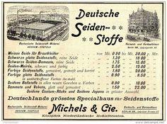 Original-Werbung/ Anzeige 1897 - DEUTSCHE SEIDENSTOFFE / MICHELS - BOCKUM - CREFELD - ca. 180 x 140 mm