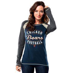 Women's Chicago Bears Majestic White/Navy Draft Me Fashion T-Shirt