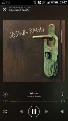 """Joshua Radin - Winter   """"...I could have lost myself In rough blue waters in your eyes...And I miss you still..."""""""