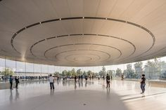 DESIGNBOOM: foster + partners sets world's largest carbon-fiber roof on glass cylinder https://www.davincilifestyle.com/designboom-foster-partners-sets-worlds-largest-carbon-fiber-roof-on-glass-cylinder/     foster + partners and apple have completed the 'steve jobs theater' at apple park, a structure that embodies both the architect's and tech company's vision — the product of eight years of close collaboration. the lobby's glass cylinder construction is made