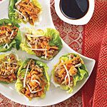 Asian Lettuce Wraps:  Sweet, rich hoisin sauce is available in many supermarkets in the ethnic or Asian foods section, but you can substitute soy sauce if you can't find it. Also, feel free to add chopped green beans, bell peppers or shredded cabbage to the mixture, instead of or along with the bean sprouts. (Cost per serving: $1.30) #chinesenewyear