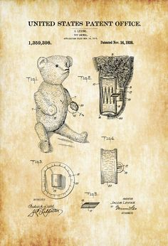 Teddy Bear Patent Poster 1920  Patent Print by PatentsAsPrints