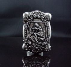 Amazing-Antique-Victorian-Sterling-Silver-Unger-Brothers-Match-Safe-Muse-w-Harp