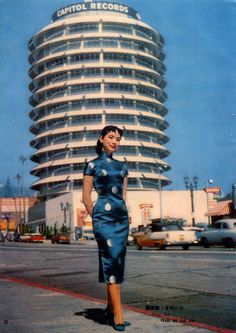 L.A early 60's / Capitol Records building...vintage cheongsam dress
